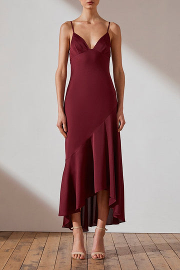 SHONA JOY | LUXE BIAS ASYMMETRICAL SLIP DRESS - GARNET