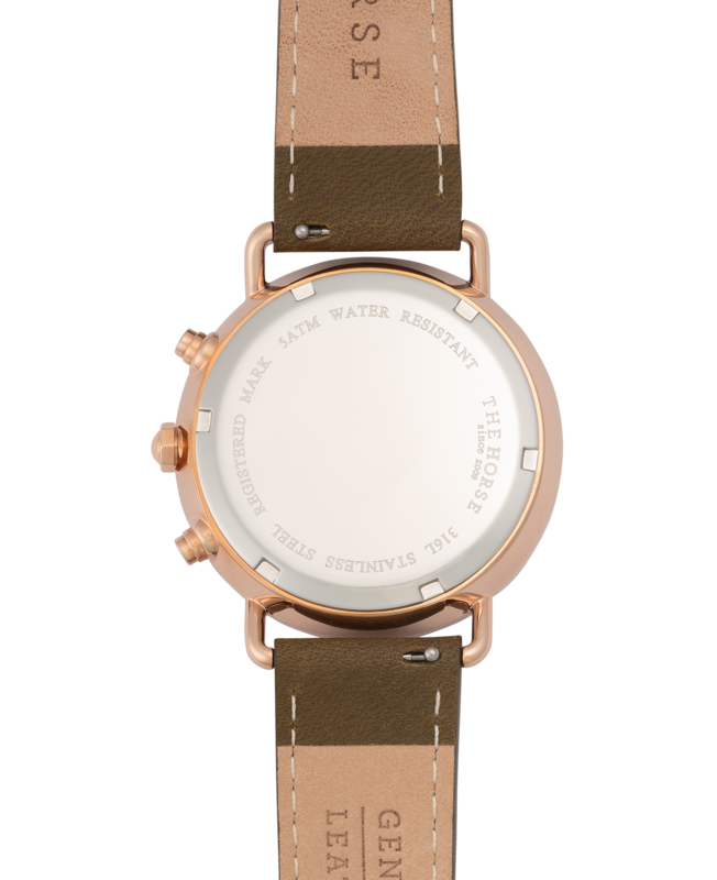 THE HORSE | THE MINI CHRONOGRAPH - WHITE NOUGAT / ROSE GOLD / OLIVE