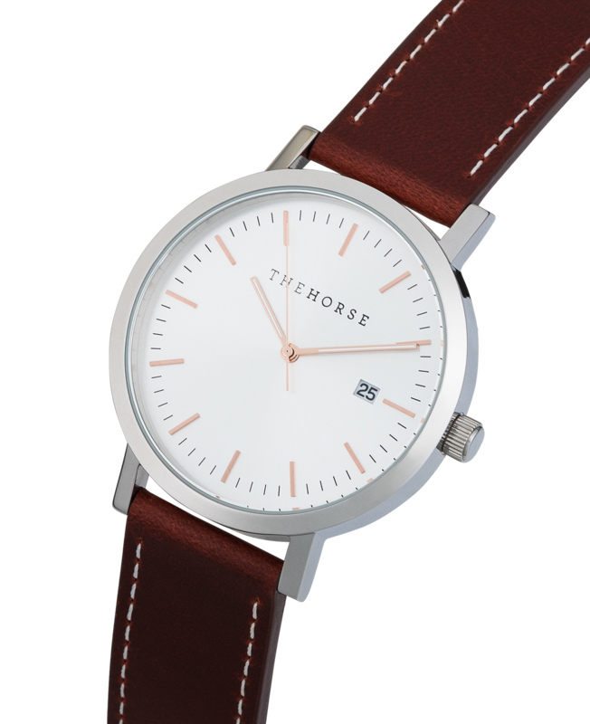 THE HORSE | ORIGINAL WATCH - SILVER CASE / SILVER SUNRAY / WALNUT WHITE STITCHED STRAP