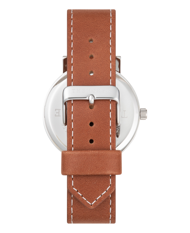 THE HORSE | ORIGINAL WATCH - SILVER CASE / BLACK DIAL / TAN WHITE STITCHED STRAP