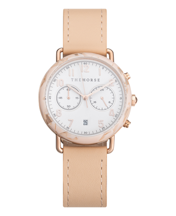 THE HORSE | THE MINI CHRONOGRAPH - PEACH SPECKLE NOUGAT / NUDE LEATHER