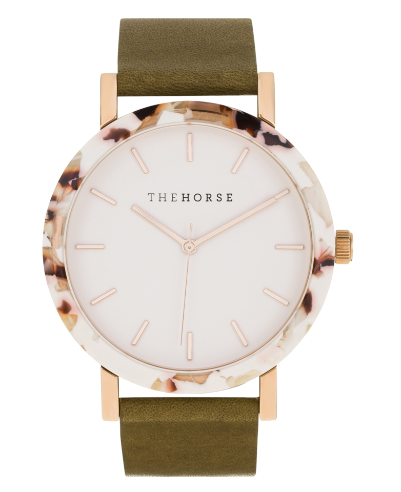 THE HORSE | RESIN - NOUGAT CASE / ROSE GOLD INDEXING / OLIVE LEATHER