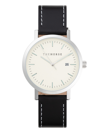 THE HORSE | ORIGINAL WATCH - SILVER CASE / OFF WHITE DIAL / BLACK WHITE STITCHED STRAP