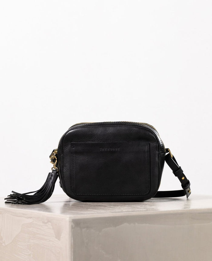 THE HORSE | DOUBLE ZIP CROSS BAG - BLACK