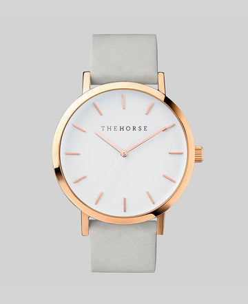 THE HORSE | POLISHED ROSE GOLD / WHITE DIAL / GREY LEATHER