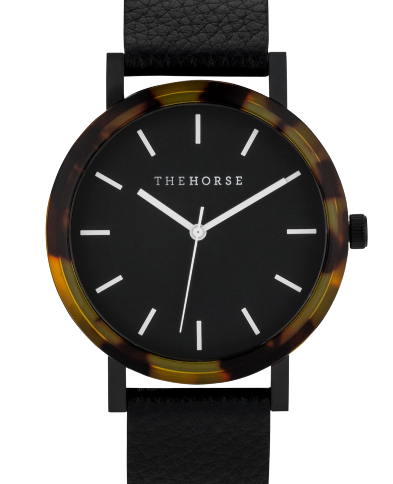 THE HORSE | RESIN - BROWN TORTOISE SHELL / BLACK DIAL / BLACK LEATHER