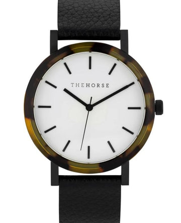 THE HORSE | RESIN - BROWN TORTOISE SHELL / WHITE DIAL / BLACK LEATHER