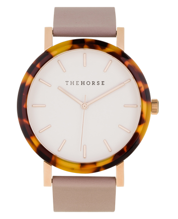 THE HORSE | RESIN - TORT SHELL CASE / WHITE DIAL / BLUSH LEATHER