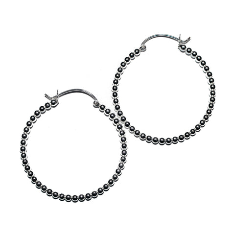 BEADED BALL HOOP EARRING