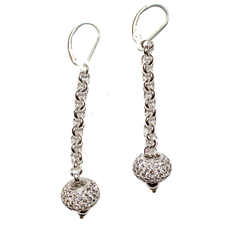 CRYSTAL DISC CHAIN DROP EARRING