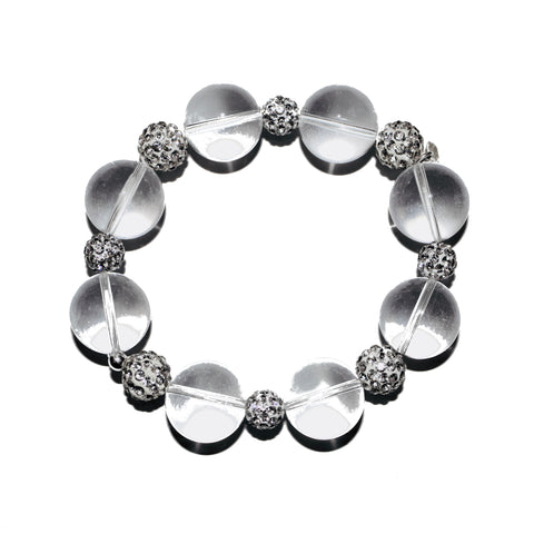 GLASS SPHERES AND PAVE CRYSTALS BRACELET