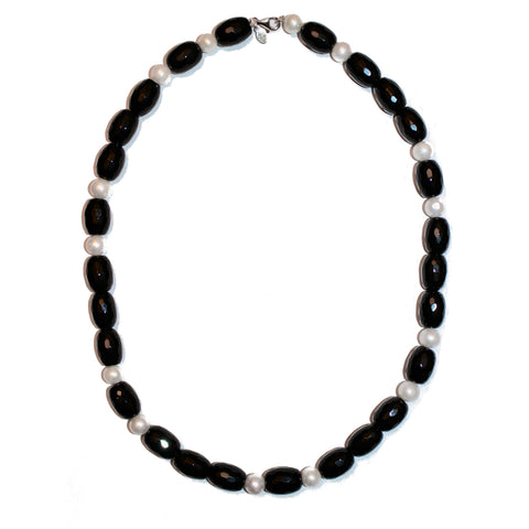 BLACK ONYX AND PEARL STATEMENT NECKLACE