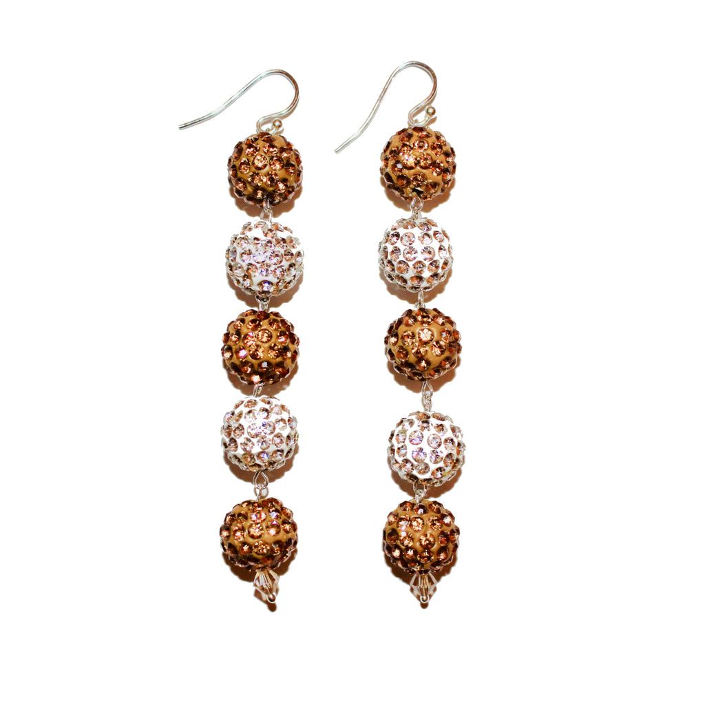 SILVER AND GOLD PAVE CRYSTAL DANGLE EARRING