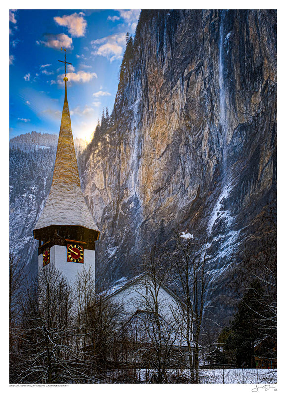 Snowy Morning at Kirche Lauterbrunnen