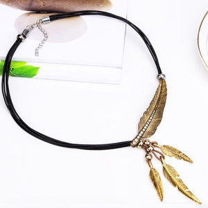 Black Gold Feather Necklace