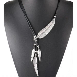 Black Silver Feather Necklace