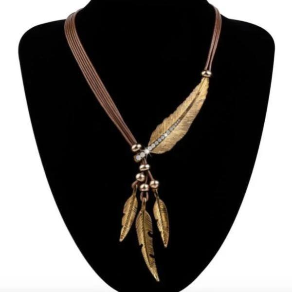 Brown Gold Feather Necklace