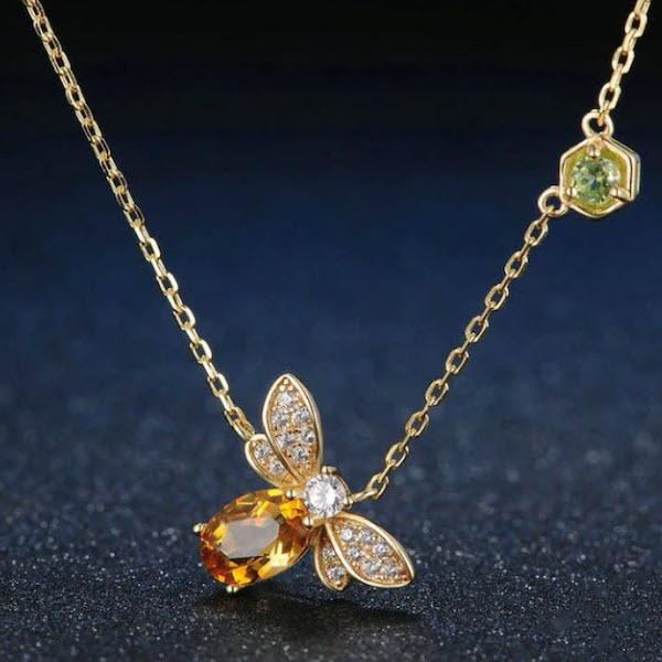 Citrine Queen Bee Necklace