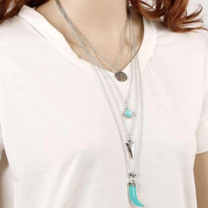 Layered Silver Turquoise Necklace