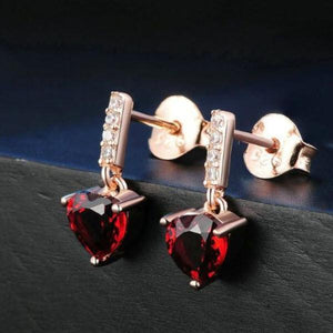 Red Garnet Drop Earrings