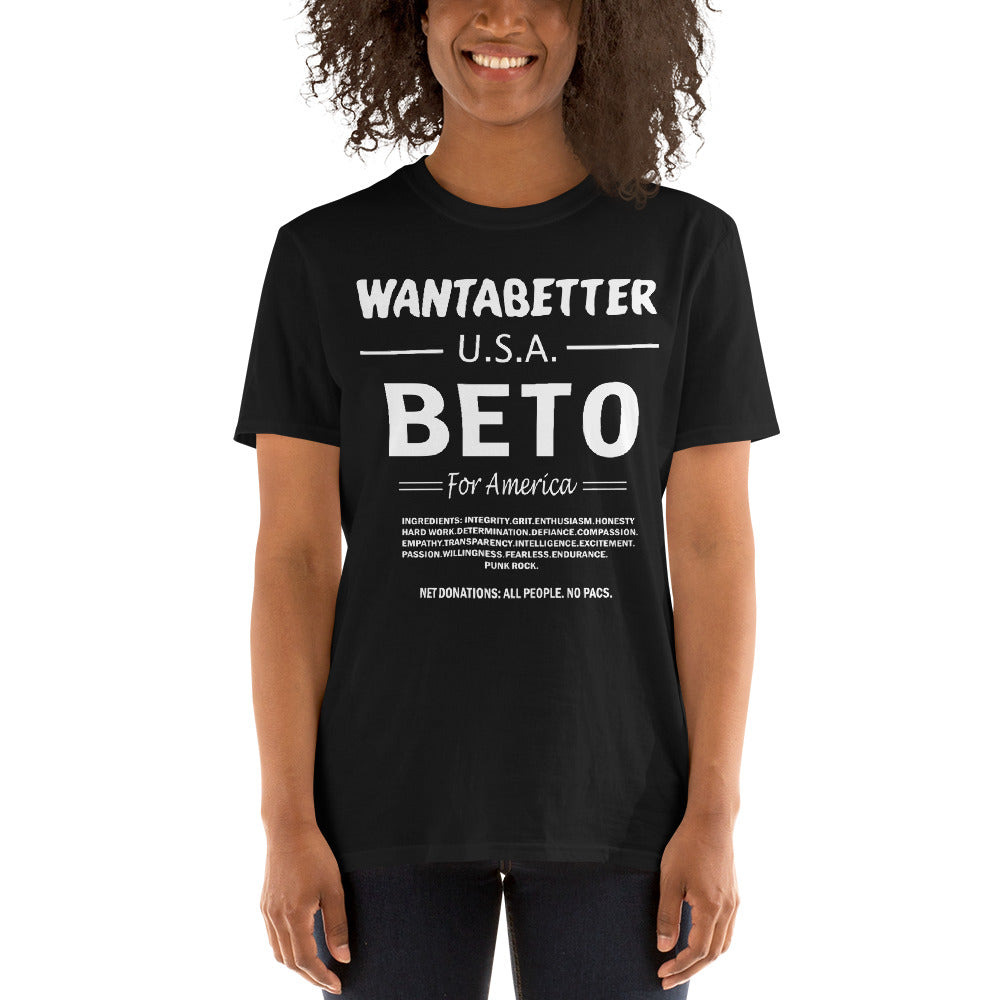 WANT A BETTER USA - BETO 2020 - Short-Sleeve Unisex T-Shirt - El Paso Apparel