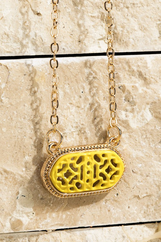 Yellow Oval Filigree Necklace