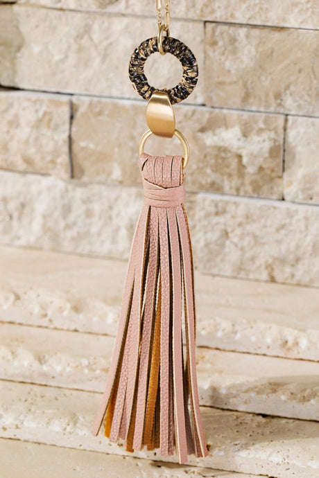 Dusty Pink Tassel Necklace