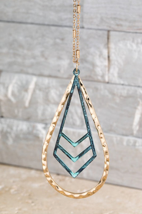 Teardrop Patina Chevron Necklace