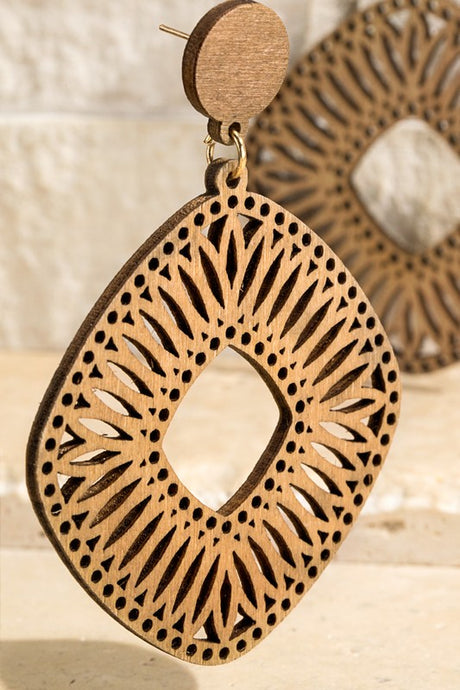 Natural Wooden Filigree Earring
