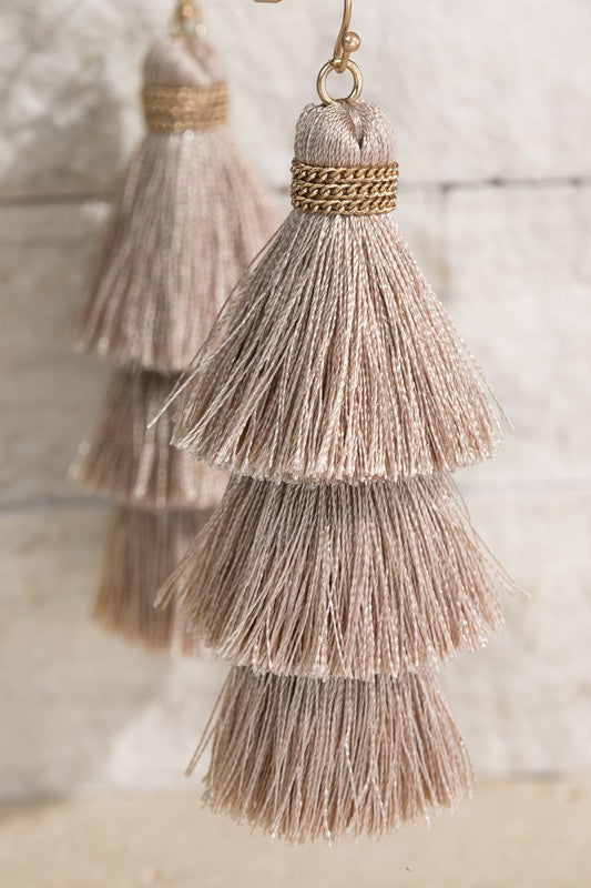 Taupe Tiered Tassel Earring
