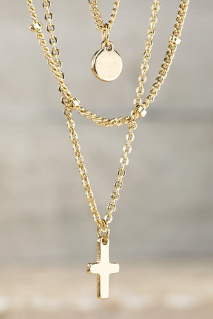Layered Gold Cross Necklace