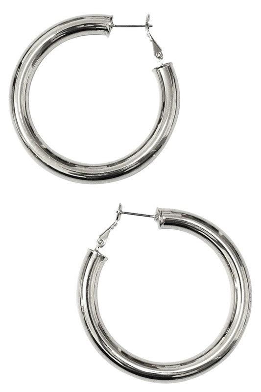 Silver Brass Thick Hoop