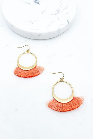 Coral Tassel Fan Earring