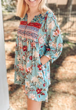 Floral Mixed Peasant Dress