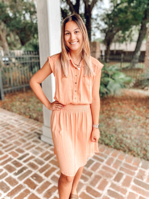 Georgia Peach Smocked Dress