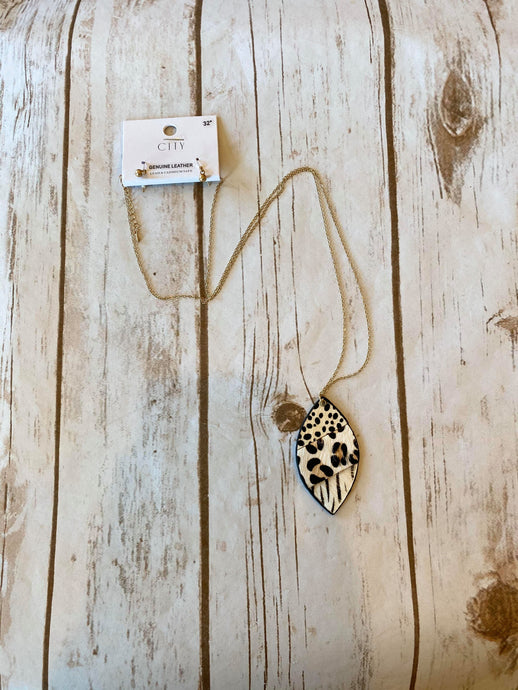 Leopard Vegan Leather Necklace