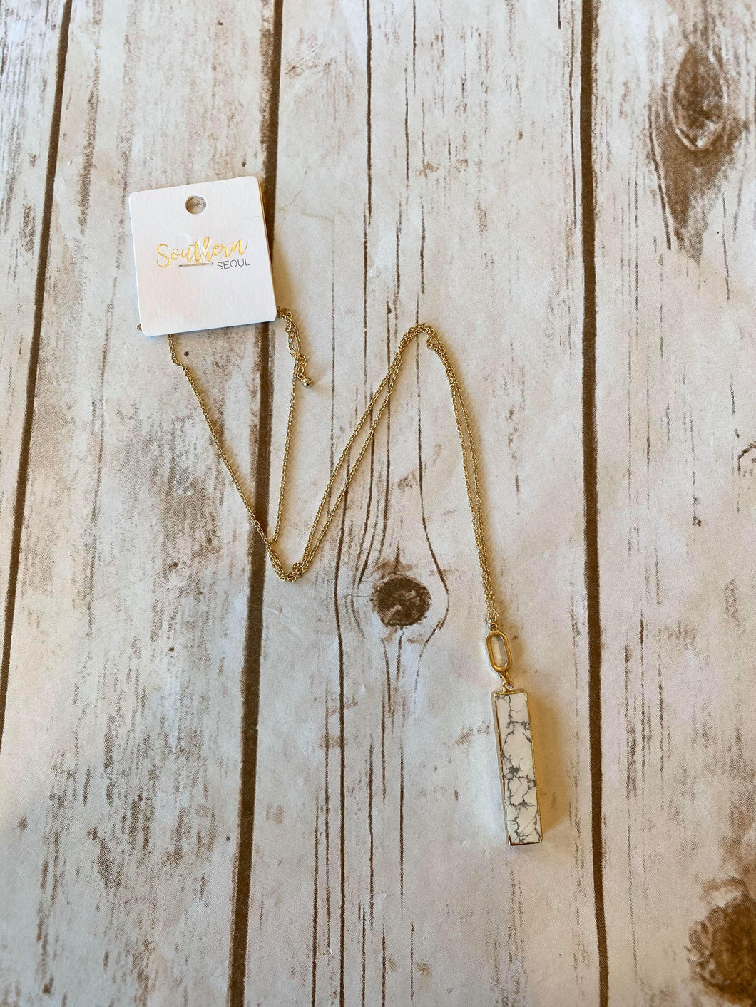 White Marble Bar Necklace