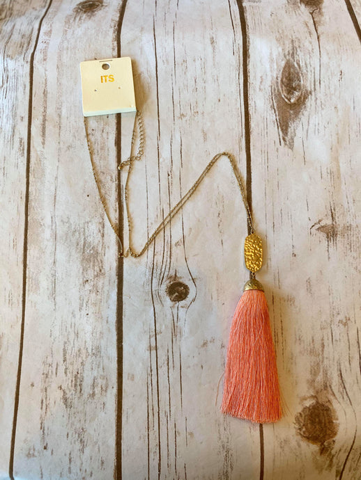 Coral Threaded Tassel Necklace