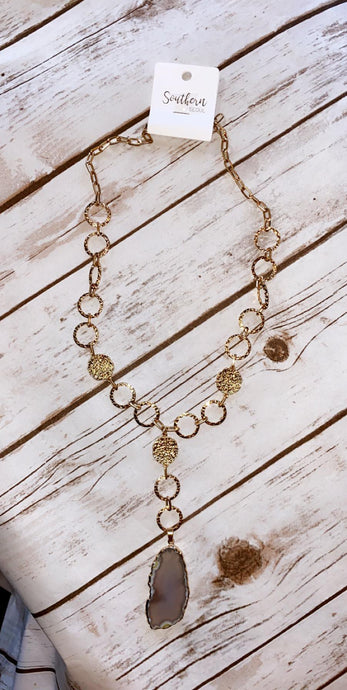 Circles Linked Stone Necklace