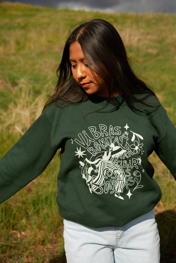 Vibras Bonitas Hunter Green Sweatshirt