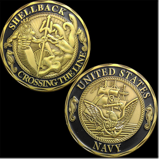 NEW U.S. Navy Shellback Crossing the Line Challenge Coin