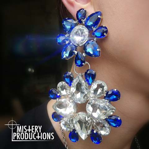 Sapphire / Crystal Earrings