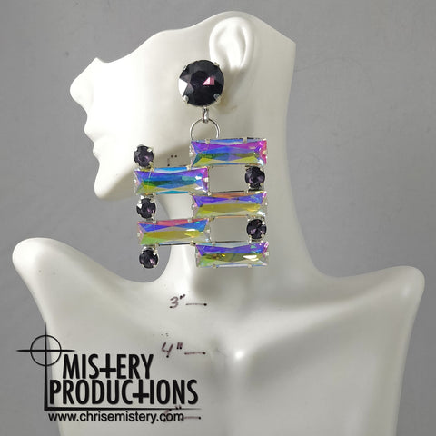 AB / Amethyst Ladder Dangle Earrings