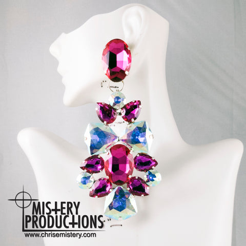 AB/Fuchsia Dangle Earrings