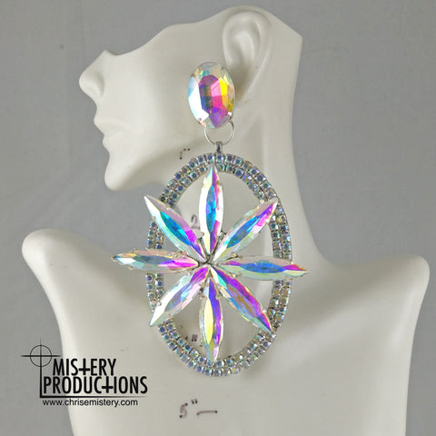 AB 3D Starburst Dangle Earrings