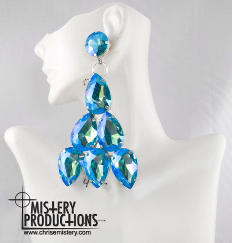 Lake Blue AB Dangle Earrings