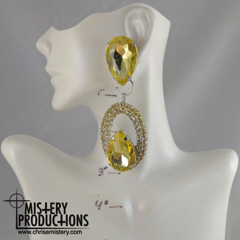 Citrine / Crystal Negative Dangle Earrings