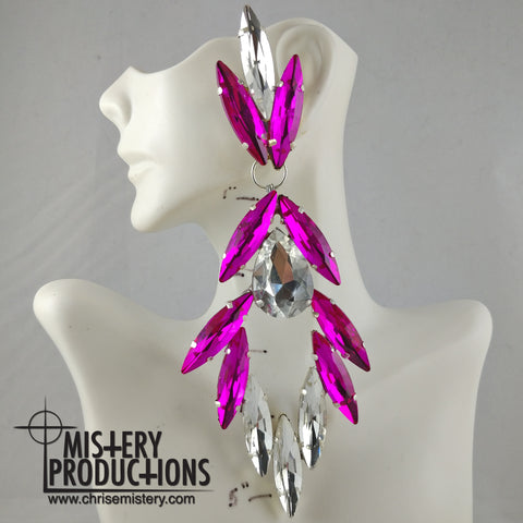 Crystal / Fuchsia Dangle Earrings