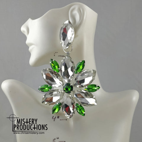 Crystal / Emerald Plate Dangle Earrings