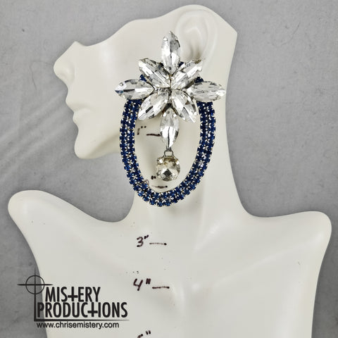 Crystal / Sapphire 3D Starburst Button Earrings